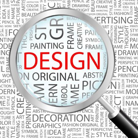 concepteur web: DESIGN. Loupe sur fond avec des termes diff�rents association. Illustration vectorielle.