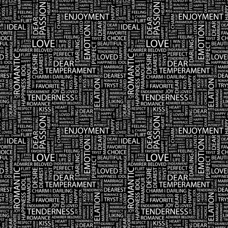 abstract zodiac: LOVE. Seamless vector background. Wordcloud illustration. Illustration with different association terms.