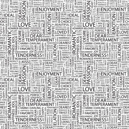 admirer: LOVE. Seamless vector pattern with word cloud. Illustration with different association terms.