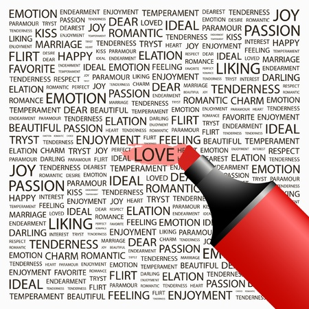 LOVE. Highlighter over background with different association terms. Vector illustration. Vector