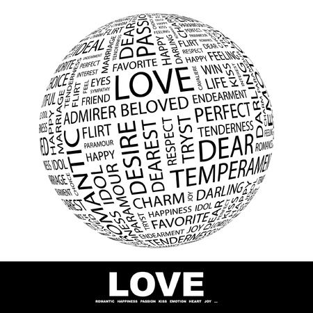 marry: LOVE. Globe with different association terms. Wordcloud vector illustration.   Illustration