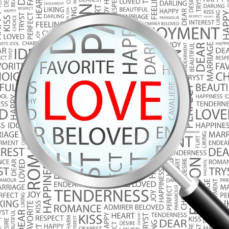 LOVE. Magnifying glass over background with different association terms. Vector illustration.