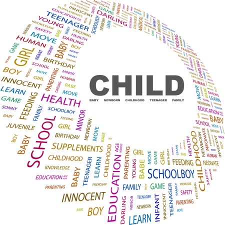 CHILD. Word collage on white background. Vector illustration. Illustration with different association terms.    Vector