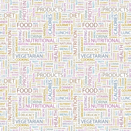 food and beverages: FOOD. Seamless vector pattern with word cloud. Illustration with different association terms.