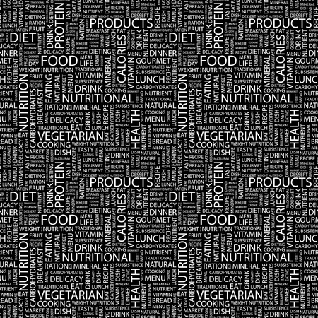 soup and salad: FOOD. Seamless vector pattern with word cloud. Illustration with different association terms.