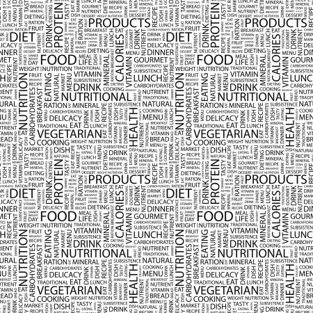 퓌레: FOOD. Seamless vector background. Wordcloud illustration. Illustration with different association terms.