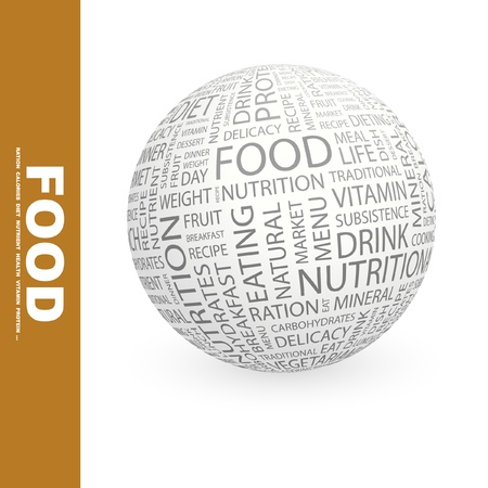 collage art: FOOD. Globe with different association terms. Wordcloud vector illustration.