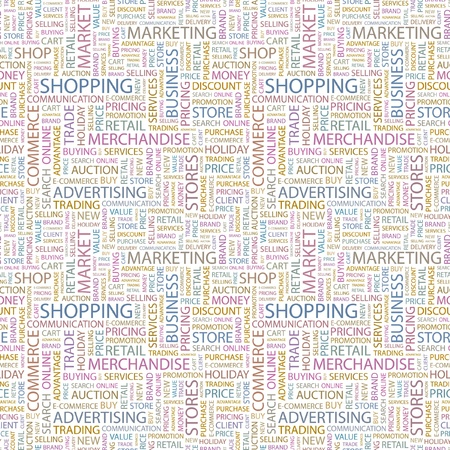 SHOPPING. Seamless vector pattern with word cloud. Illustration with different association terms.   Vector