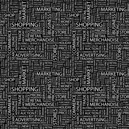 SHOPPING. Seamless vector pattern with word cloud. Illustration with different association terms. Stock Vector - 9027814