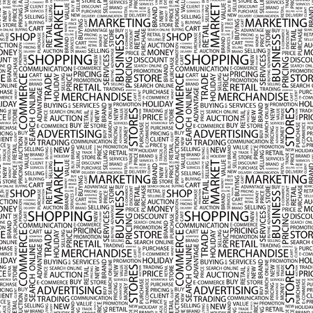 SHOPPING. Seamless vector pattern with word cloud. Illustration with different association terms. Stock Vector - 9034046