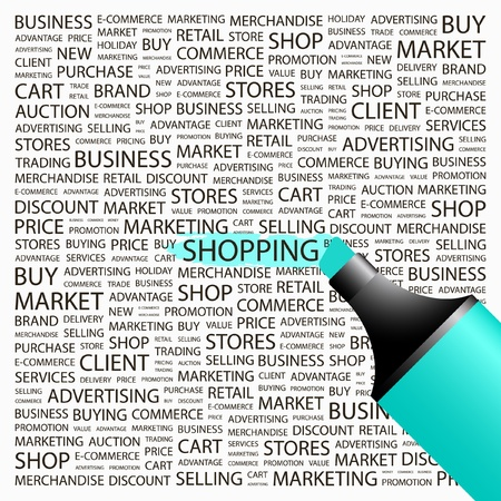 SHOPPING. Highlighter over background with different association terms. Vector illustration. Vector