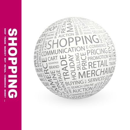 online trading: SHOPPING. Globe with different association terms. Wordcloud vector illustration.