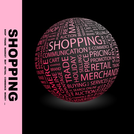 SHOPPING. Globe with different association terms. Wordcloud vector illustration.   Stock Vector - 9034032