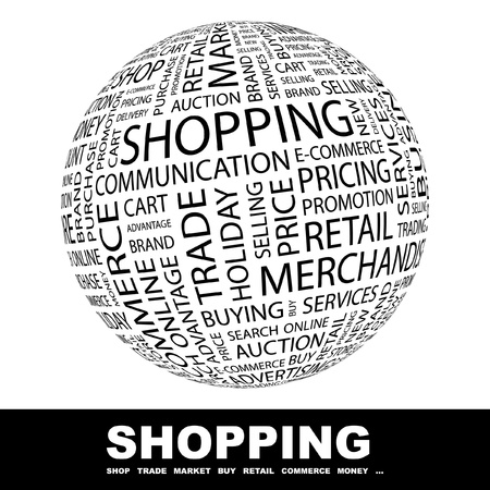 to go: SHOPPING. Globe with different association terms. Wordcloud vector illustration.