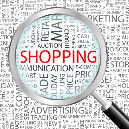 online trading: SHOPPING. Magnifying glass over background with different association terms. Vector illustration.   Illustration