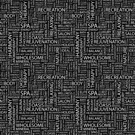 SPA. Seamless vector pattern with word cloud. Illustration with different association terms.   Illustration