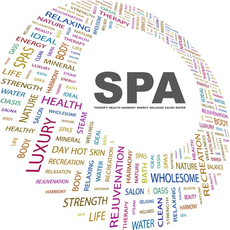 spa collage: SPA. Word collage on white background. Vector illustration. Illustration with different association terms.