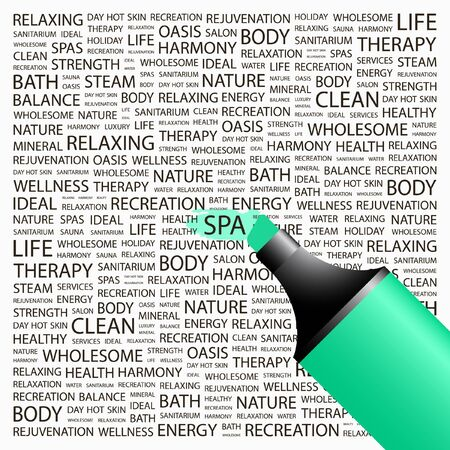 SPA. Highlighter over background with different association terms. Vector illustration.