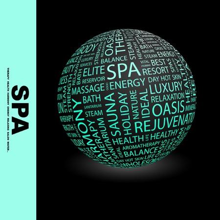 buen servicio: SPA. Globo con t�rminos de asociaci�n diferente. Ilustraci�n vectorial de Wordcloud.