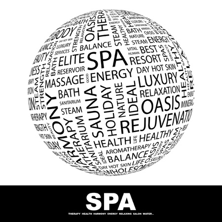 SPA. Globe with different association terms. Wordcloud vector illustration.   Illustration