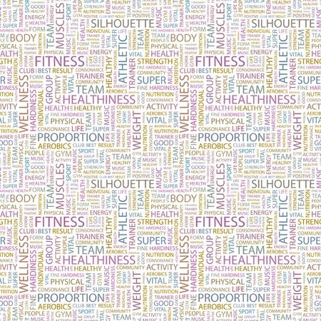 healthiness: GIMNASIO. Patr�n de vector transparente con nubes de palabra. Ilustraci�n con t�rminos de asociaci�n diferente.