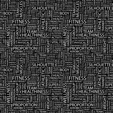 salubrity: FITNESS. Seamless vector background. Wordcloud illustration. Illustration with different association terms.