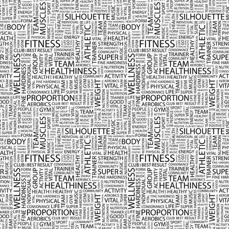 FITNESS. Seamless vector pattern with word cloud. Illustration with different association terms.   Vector