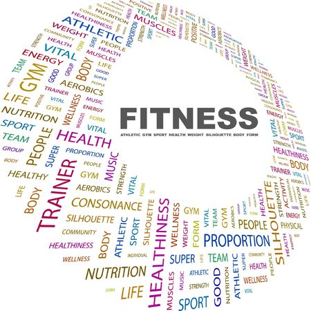FITNESS. Word collage on white background. Vector illustration. Illustration with different association terms.    Vector