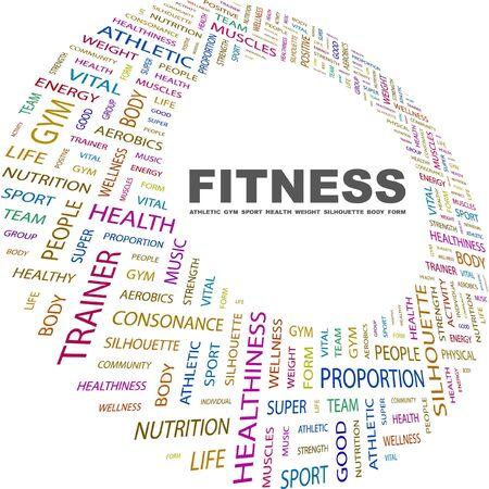 healthiness: GIMNASIO. Collage de palabra sobre fondo blanco. Ilustraci�n vectorial. Ilustraci�n con t�rminos de asociaci�n diferente.    Vectores
