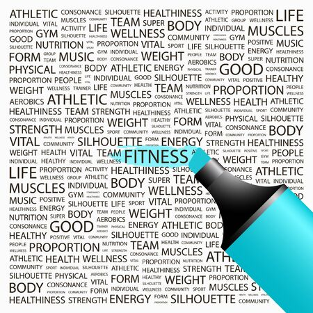 permanent: FITNESS. Highlighter over background with different association terms. Vector illustration.