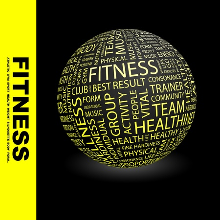 FITNESS. Magnifying glass over background with different association terms. Vector illustration.   Stock Vector - 9027408