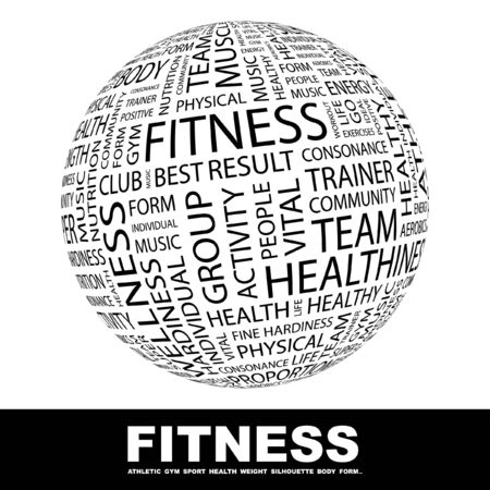 FITNESS. Globe with different association terms. Wordcloud vector illustration. Stock Vector - 9129864