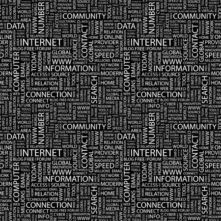 millions: INTERNET. Seamless vector pattern with word cloud. Illustration with different association terms.   Illustration
