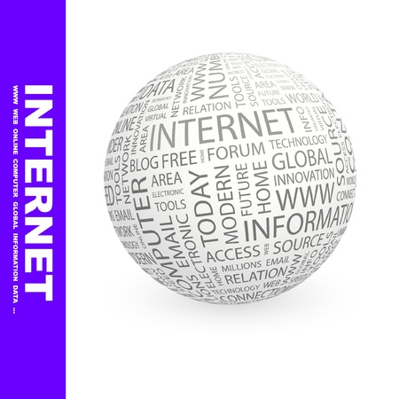 INTERNET. Globe with different association terms. Wordcloud vector illustration. Stock Vector - 8840352