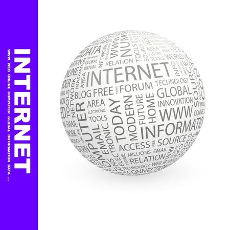 millones: INTERNET. Globo con t�rminos de asociaci�n diferente. Ilustraci�n vectorial de Wordcloud.   Vectores