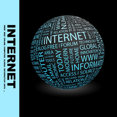 millions: INTERNET. Globe with different association terms. Wordcloud vector illustration.