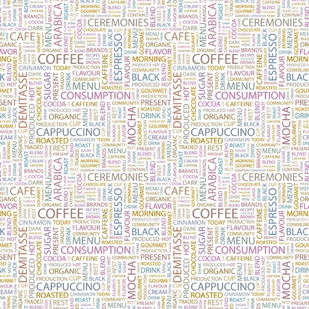 arabica: COFFEE. Seamless vector pattern with word cloud. Illustration with different association terms.
