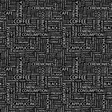 demitasse: COFFEE. Seamless vector background. Wordcloud illustration. Illustration with different association terms.