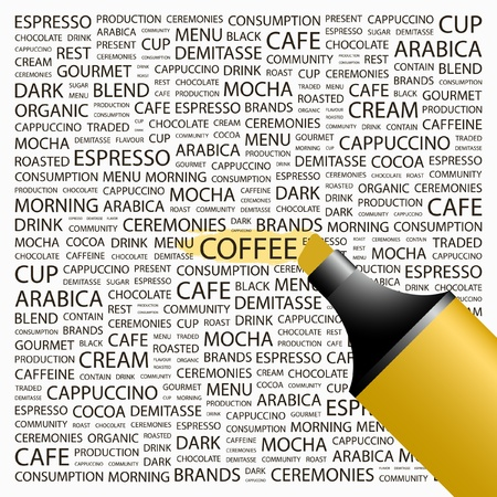 COFFEE. Highlighter over background with different association terms. Vector illustration. Vector