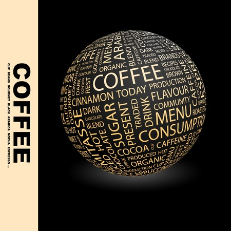 internet cafe: COFFEE. Globe with different association terms. Wordcloud vector illustration.