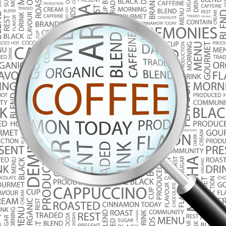 COFFEE. Magnifying glass over background with different association terms. Vector illustration. Stock Vector - 8840275