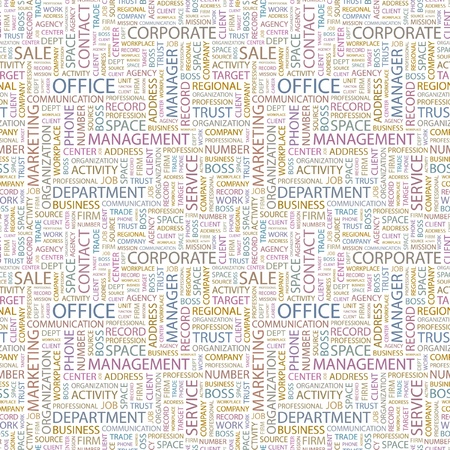 OFFICE. Seamless vector pattern with word cloud. Illustration with different association terms.   Vector