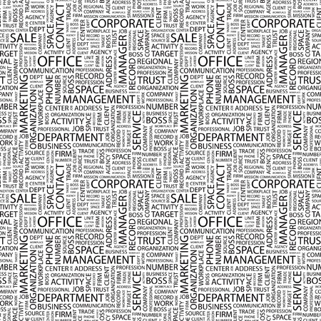 OFFICE. Seamless vector pattern with word cloud. Illustration with different association terms. Stock Vector - 9194566