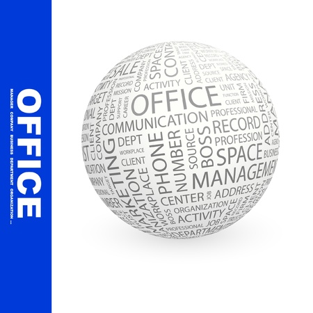 dept: OFFICE. Globe with different association terms. Wordcloud vector illustration.
