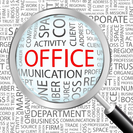 specialty: OFFICE. Magnifying glass over background with different association terms. Vector illustration.