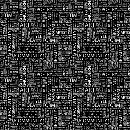 ART. Seamless vector pattern with word cloud. Illustration with different association terms.   Vector