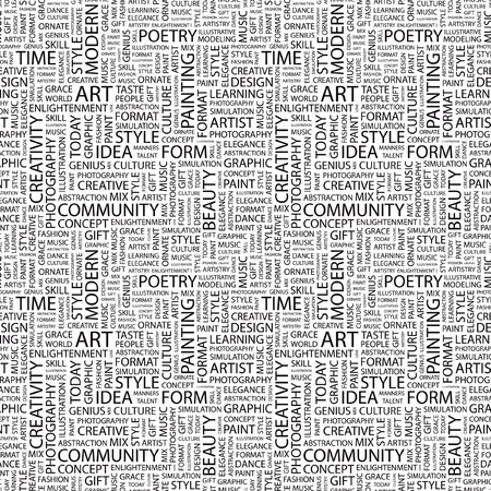 시뮬레이션: ART. Seamless vector background. Wordcloud illustration. Illustration with different association terms.