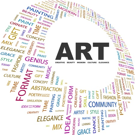 ART. Word collage on white background. Vector illustration. Illustration with different association terms.    Vector