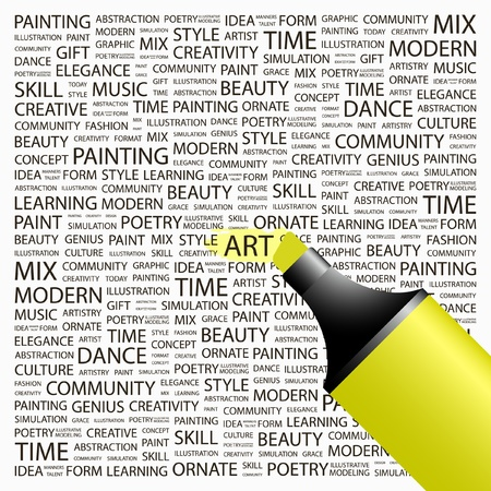 ART. Highlighter over background with different association terms. Vector illustration. Vector