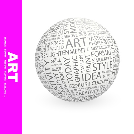 ART. Globe with different association terms. Wordcloud vector illustration.   Vector